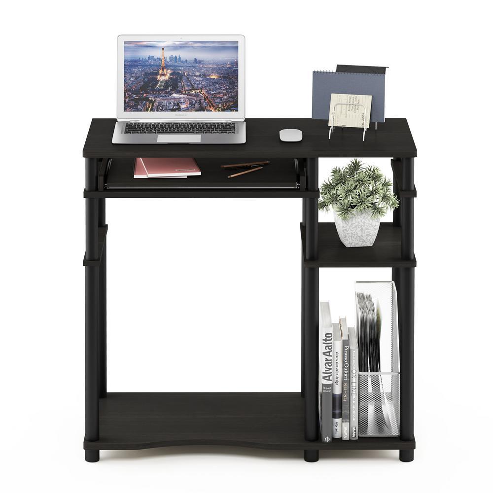 Furinno Furinno Abbott Espresso/Black Computer Desk with Bookshelf