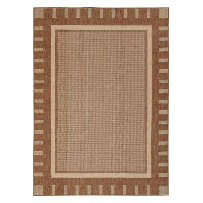 Jardin Collection Contemporary Bordered Design Brown 5 ft. 3 in. x 7 ft. 3 in. Outdoor Area Rug