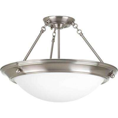 Eclipse 3-Light Brushed Nickel Semi-Flushmount