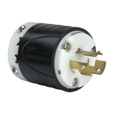 Non-NEMA 14 Amp 125-Volt - 480-Volt Locking Plug, Black/White