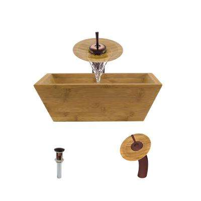 Vessel Sink in Bamboo with Waterfall Faucet and Pop-Up Drain in Oil Rubbed Bronze