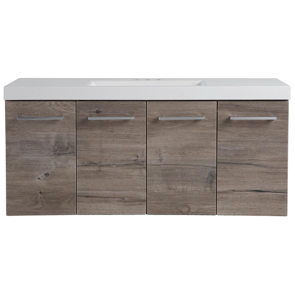 Domani Stella 49 in. W x 19 in. D Wall Hung Bath Vanity in White Washed Oak with Cultured Marble Vanity Top in White with Sink