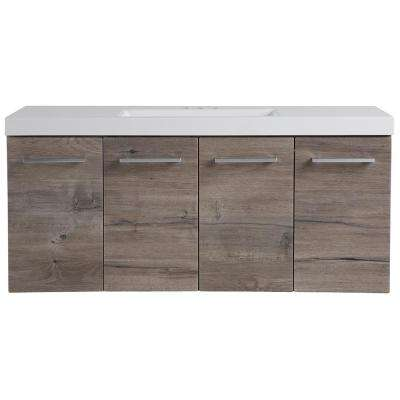 Stella 49 in. W x 19 in. D Wall Hung Bath Vanity in White Washed Oak with Cultured Marble Vanity Top in White with Sink
