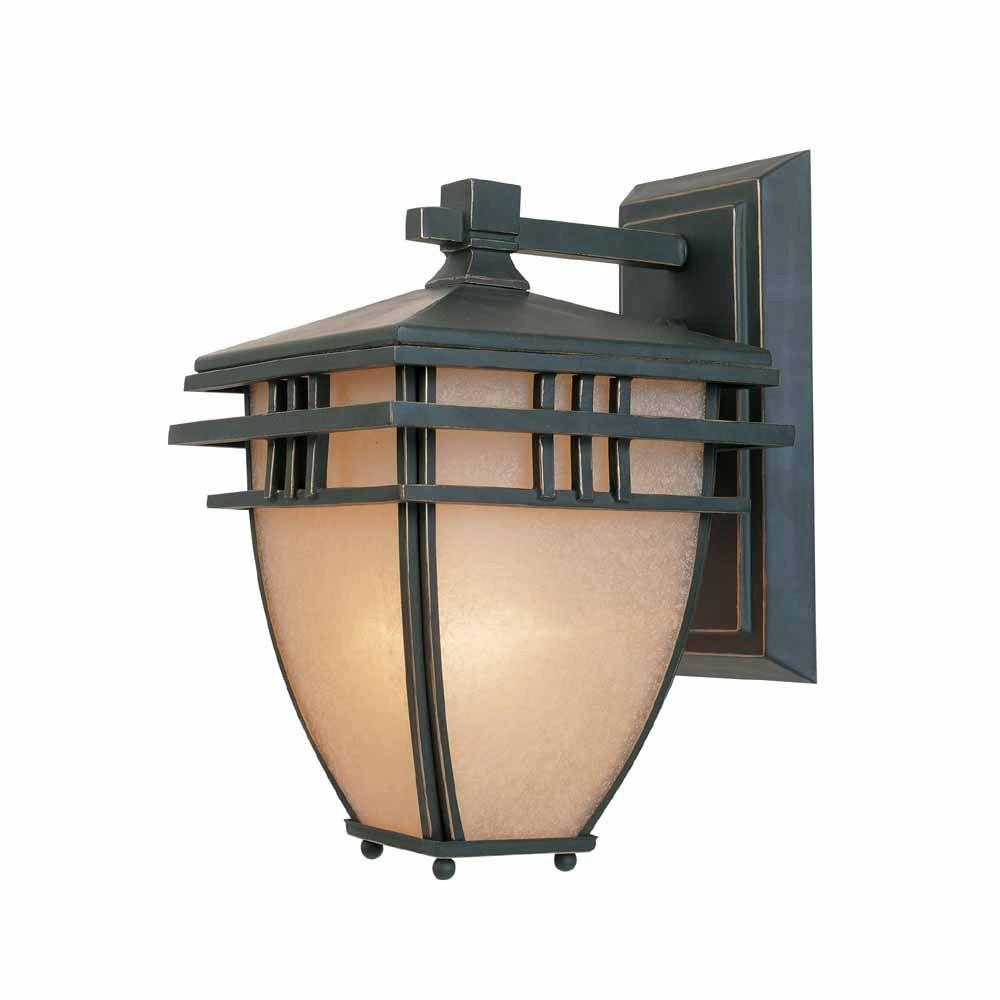 World Imports 6.5 in. Aged Bronze Patina Outdoor Wall Sconce with Ochere Glass