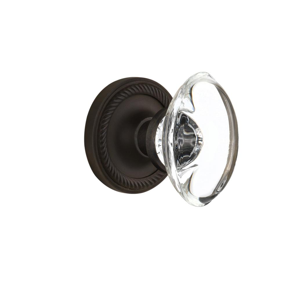 Rope Rosette Single Dummy Oval Clear Crystal Glass Door Knob in