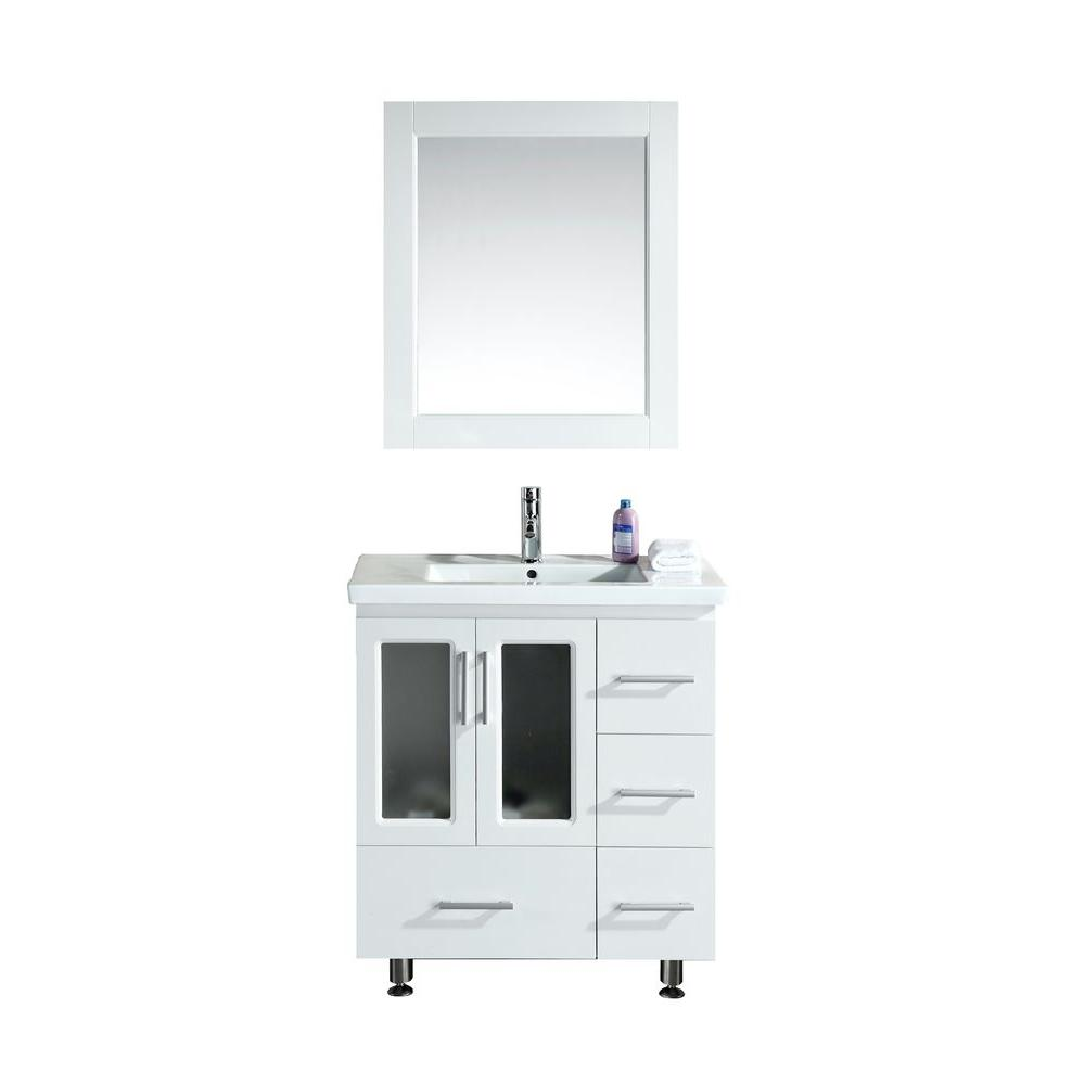 Design Element Stanton 31 5 In W X 18 In D W Vanity In White With Porcelain Vanity Top And
