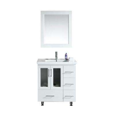 Stanton 31.5 in. W x 18 in. D W Vanity in White with Porcelain Vanity Top and Mirror in White