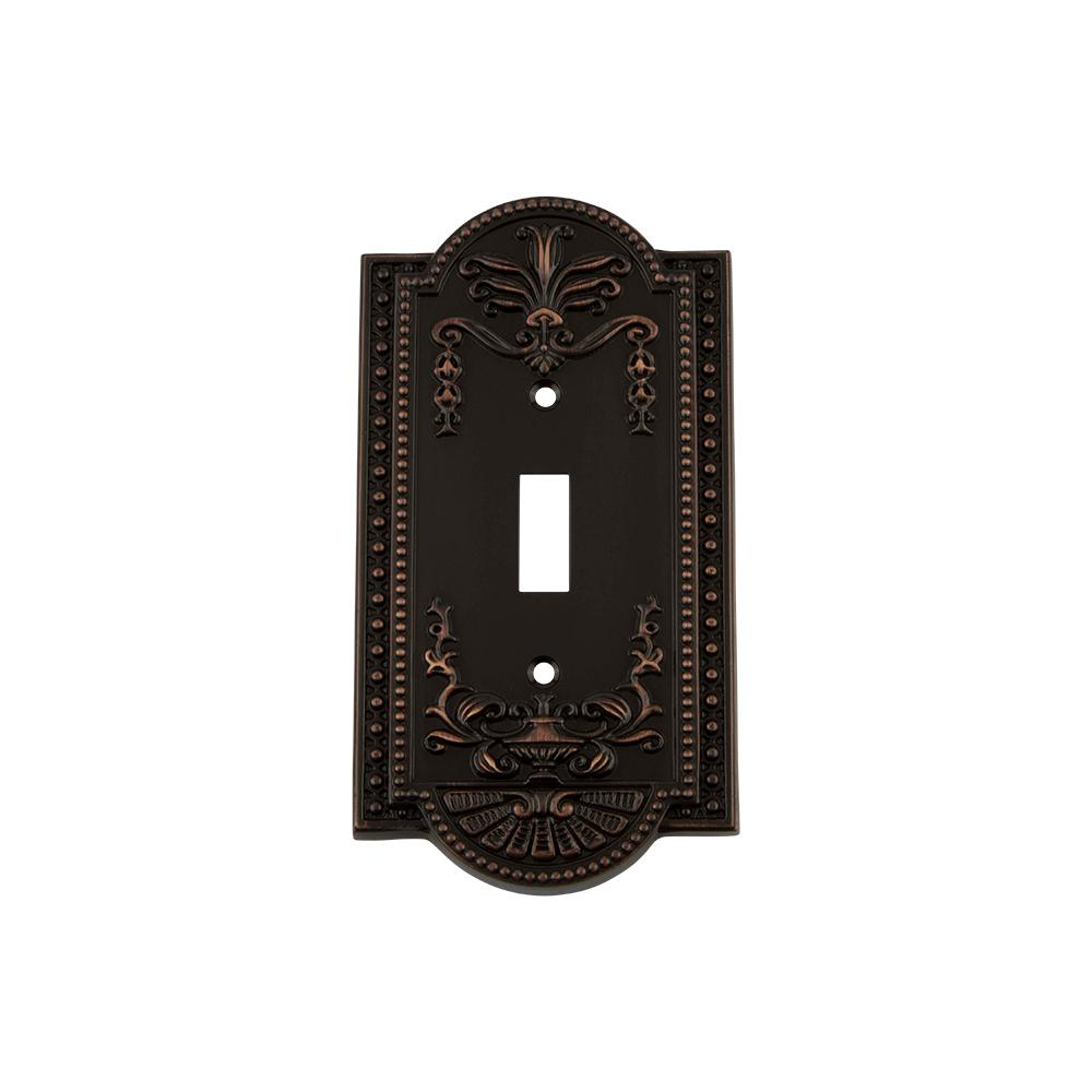 Meadows Switch Plate with Single Toggle in Timeless Bronze