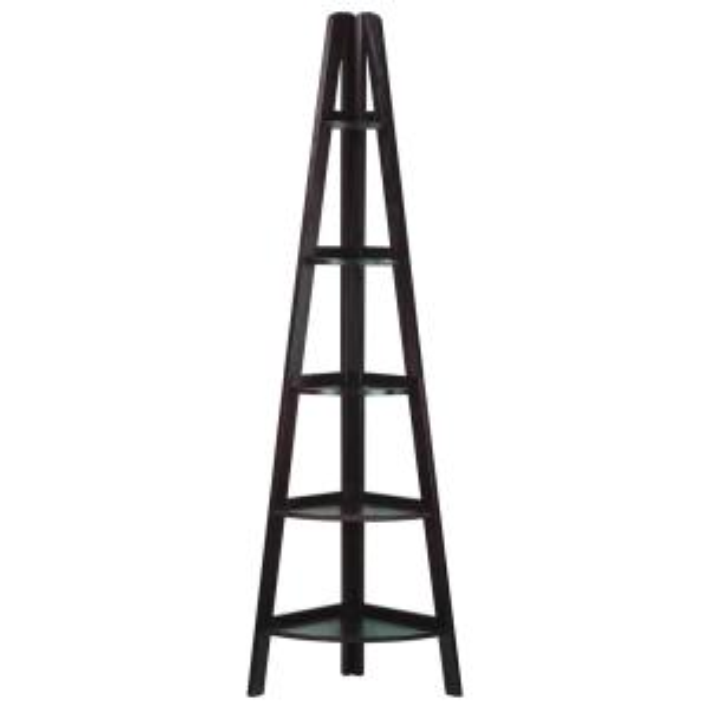 Casual Home Espresso 5-Shelf Corner Ladder Bookcase by Casual Home