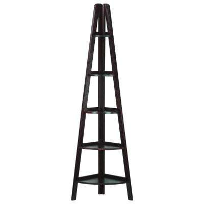 Espresso 5-Shelf Corner Ladder Bookcase