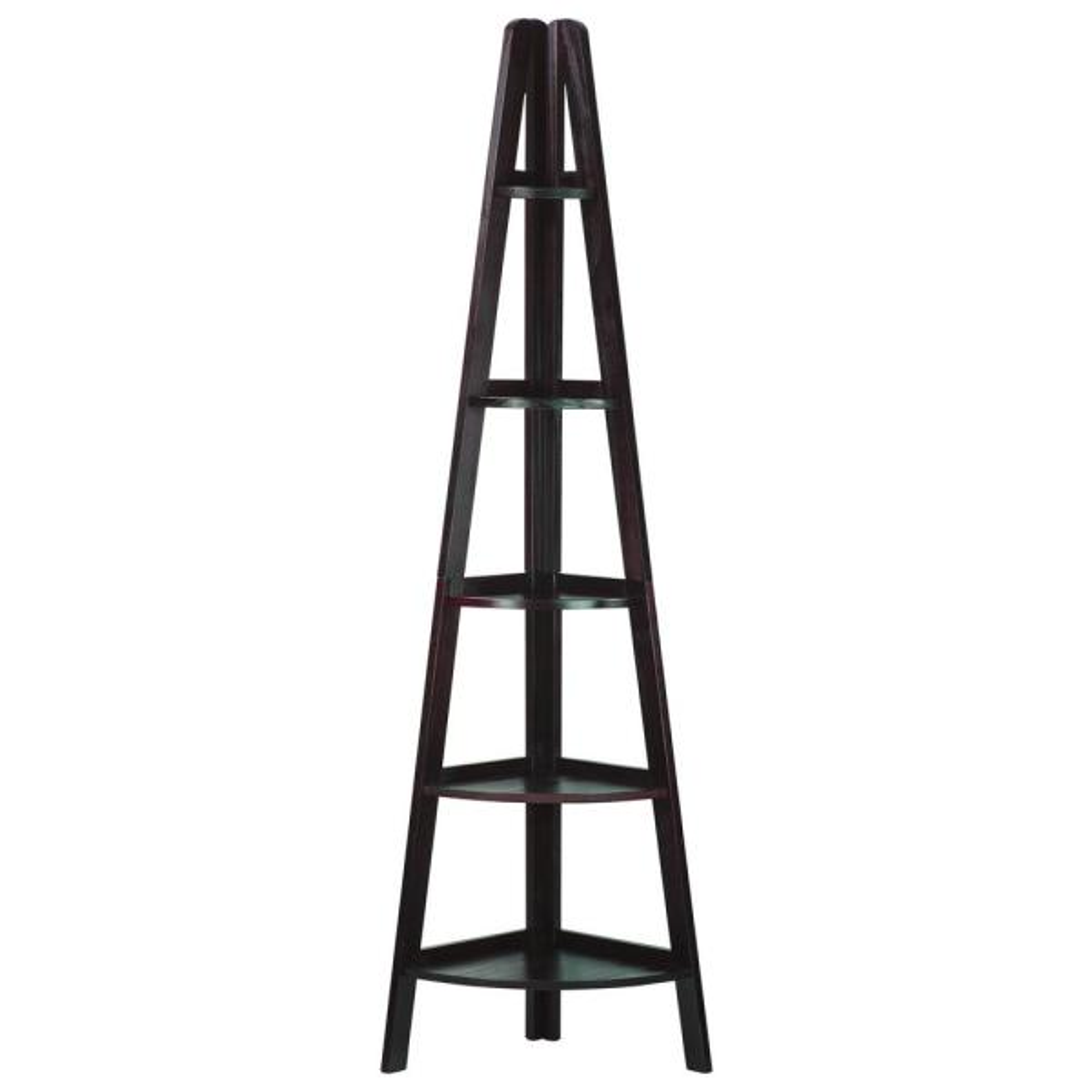 Casual Home Espresso 5-Shelf Corner Ladder Bookcase 176-33