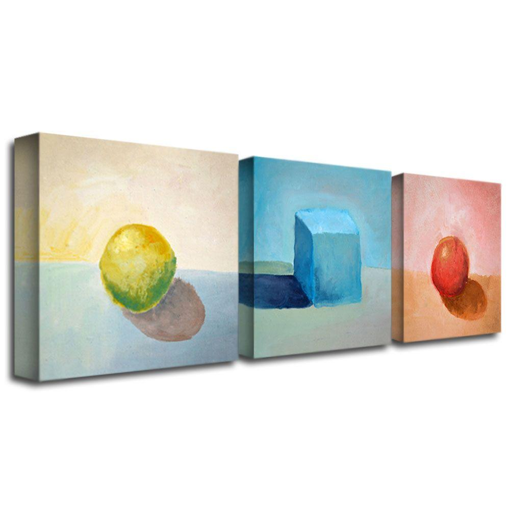 3 Panel Wall Art Interesting Trademark Fine Art Lemon Cube Spheremichelle Calkins 3Panel Decorating Design