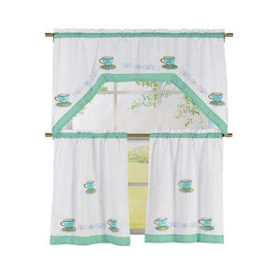 Semi-Opaque Tea Time Embroidered 3-Piece Kitchen Curtain Tier and Valance Set