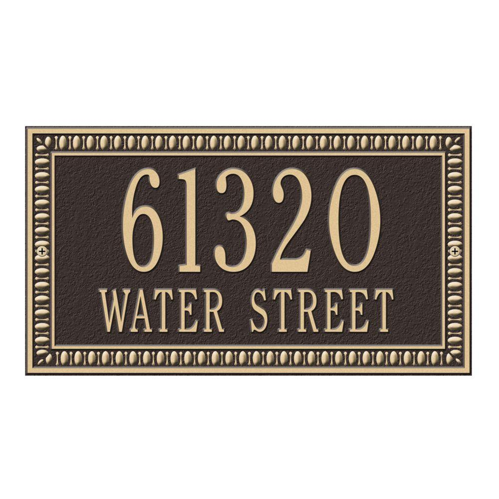 Egg and Dart Rectangular Bronze/Gold Standard Wall Two Line Address Plaque