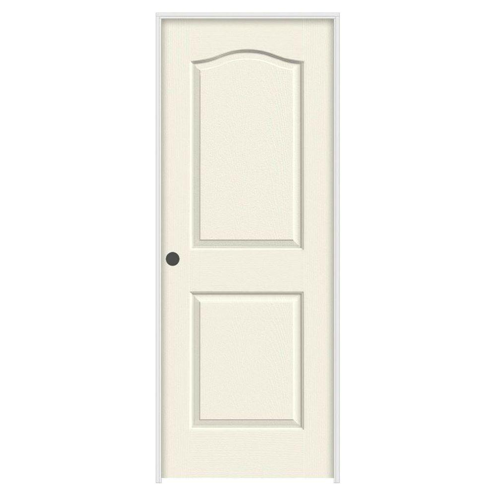 36 in. x 80 in. Camden Vanilla Painted Right-Hand Textured Molded