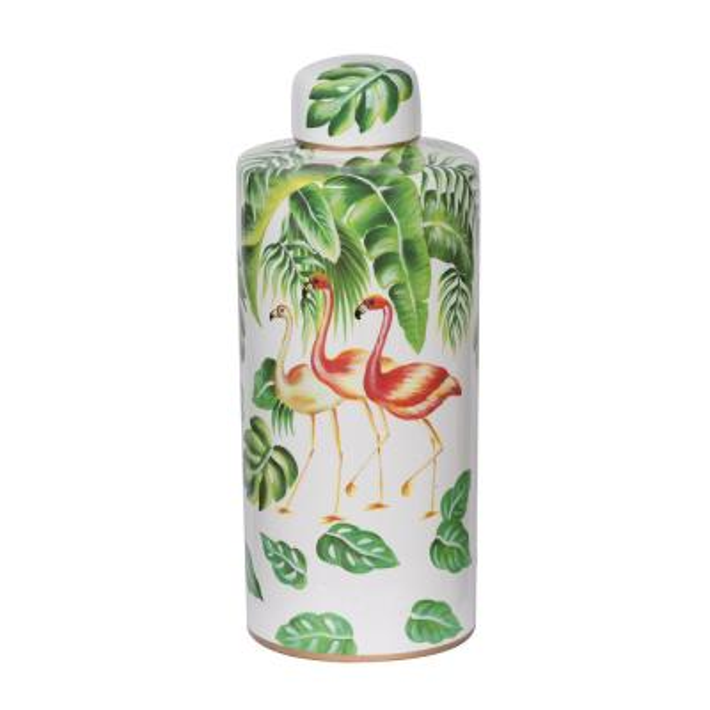 18 in. Green, White Lovise Flamingo Jar