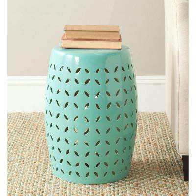 Lattice Petal Robin's Egg Blue Ceramic Patio Stool