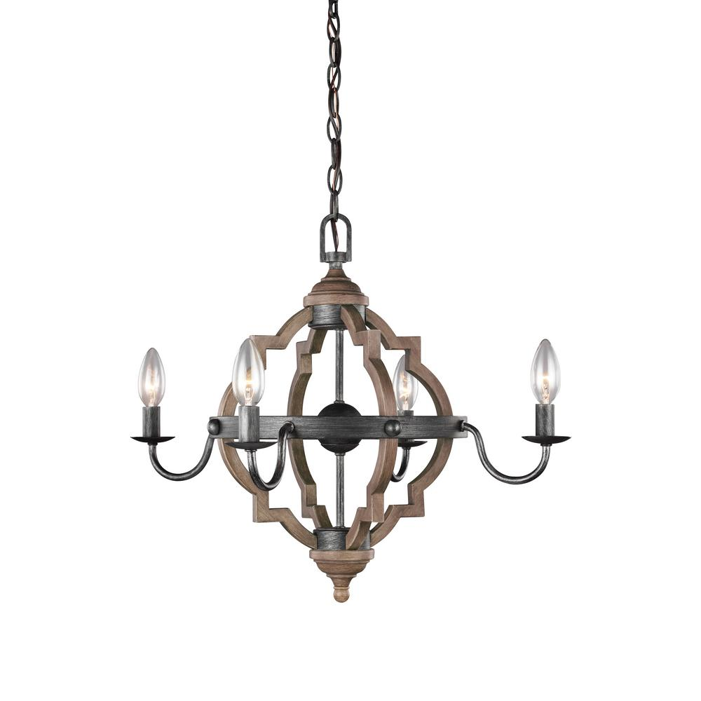 Sea Gull Lighting Socorro 22 in. W. 4-Light Weathered Gray and Distressed Oak Quatrefoil Chandelier with Dimmable Candelabra LED Bulbs