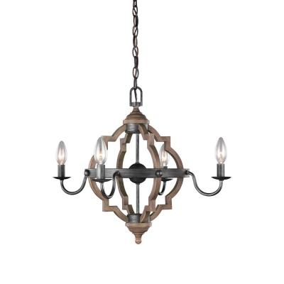 Socorro 22 in. W. 4-Light Weathered Gray and Distressed Oak Quatrefoil Chandelier with Dimmable Candelabra LED Bulbs