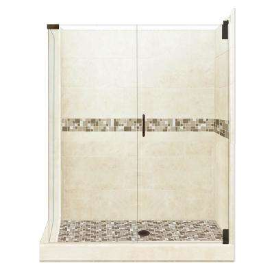 Tuscany Grand Hinged 42 in. x 48 in. x 80 in. Right-Hand Corner Shower Kit in Desert Sand and Old Bronze Hardware
