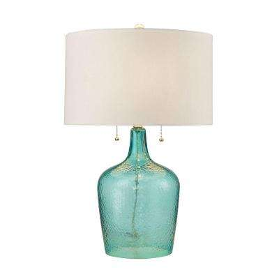 26 in. Hatteras Seabreeze Hammered Glass Table Lamp