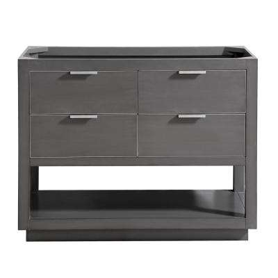Allie 42 in. W x 21.5 in. D x 34 in. H Bath Vanity Cabinet Only in Twilight Gray with Silver Trim