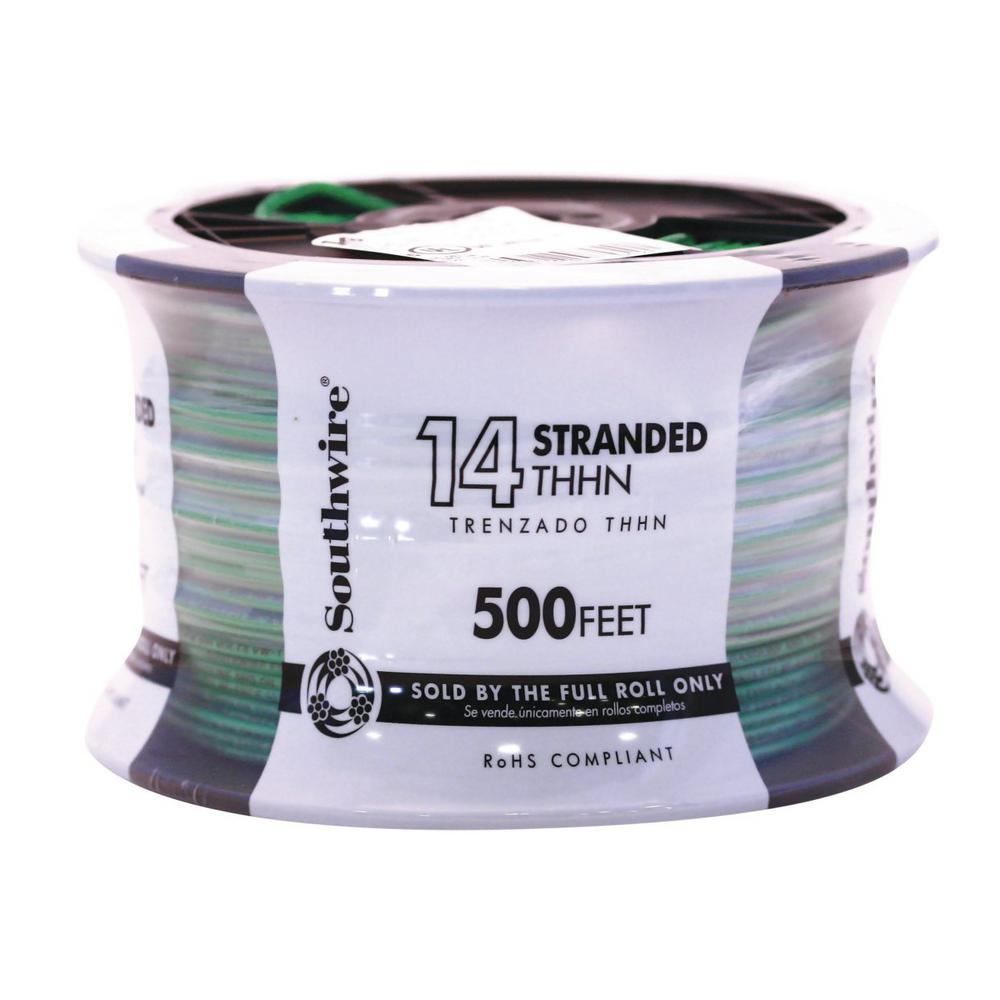 Southwire 500 ft. 14 Green Stranded CU THHN Wire
