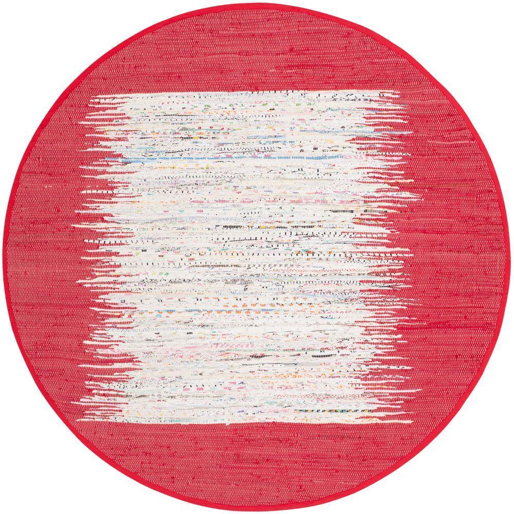 Safavieh Montauk Ivory/Red 4 ft. x 4 ft. Round Area Rug