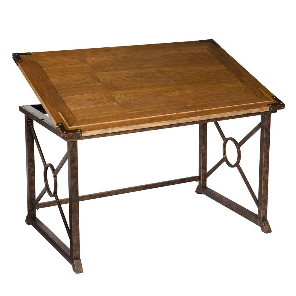 Southern Enterprises Gilberte Weathered Oak Finish with Antique Brass Desk - Southern Enterprises Gilberte Weathered Oak Finish With Antique