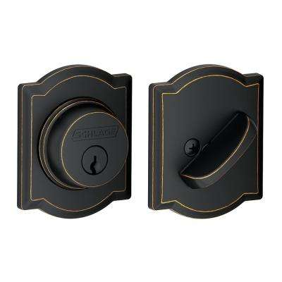 Single Cylinder Aged Bronze Deadbolt with Camelot Trim