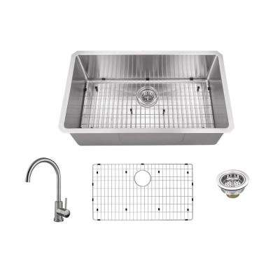 All-In-One Radius Undermount Stainless Steel 30 in. Single Bowl Kitchen Sink with Gooseneck Kitchen Faucet