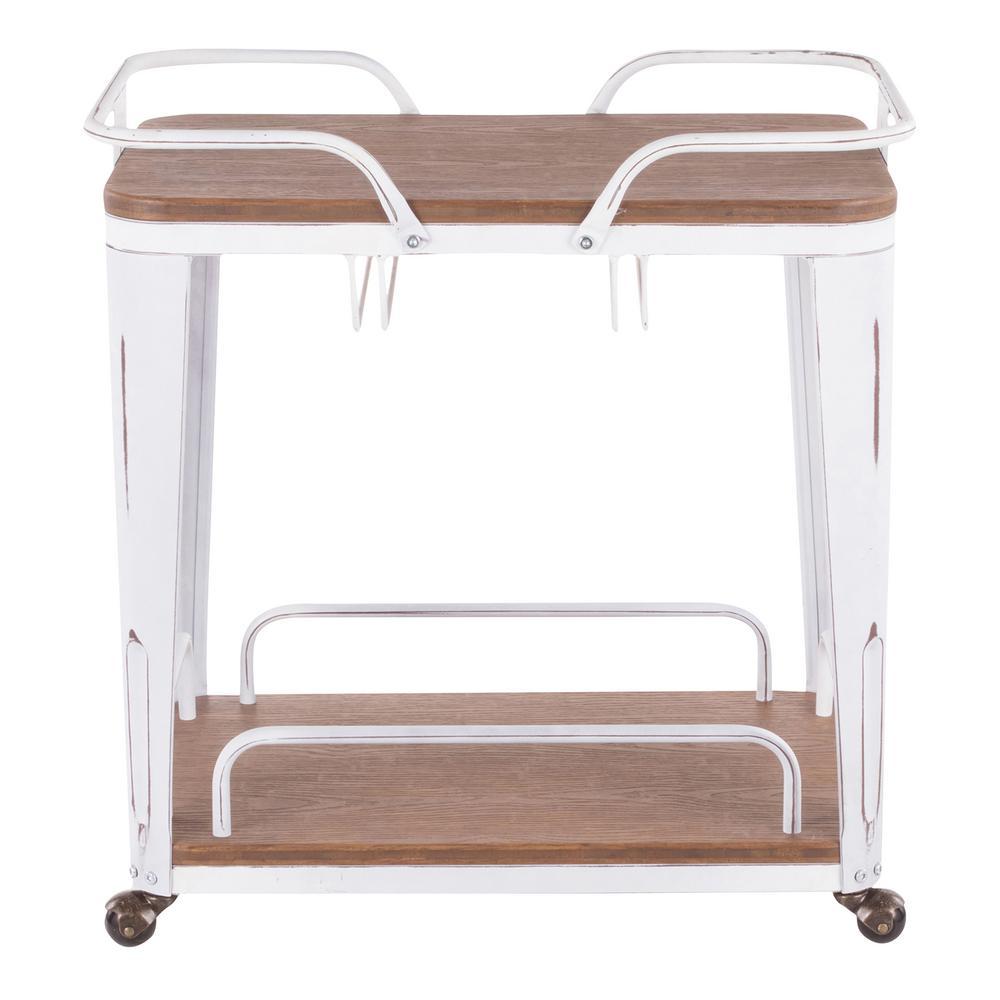Lumisource Oregon Vintage White Metal and Brown Wood Bar Cart BTC-OR