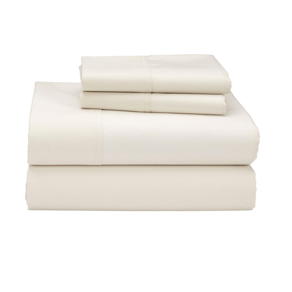 The Company Store 3 Piece Creme 300 Thread Count Sateen Twin XL