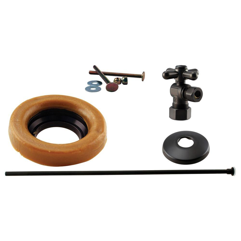 Westbrass 1/2 in. Nominal Compression Cross Handle Angle Stop Toilet Installation Kit in Oil Rubbed Bronze