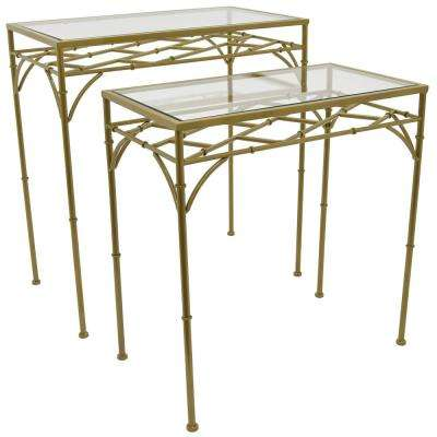 26 in. Gold Metal Glass Top Tables (Set of 2)