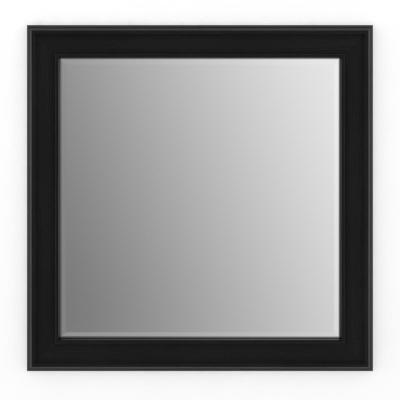 33 in. W x 33 in. H (L2) Framed Square Deluxe Glass Bathroom Vanity Mirror in Matte Black