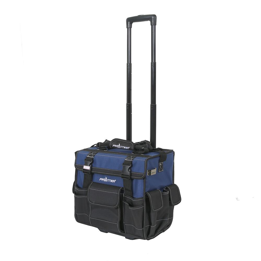 Frontier 15 in. Heavy-Duty Rolling Tool Bag with Wheels in Black and Blue