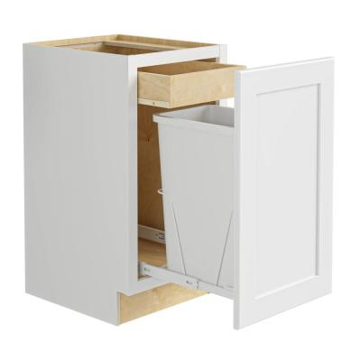 Newport Assembled 15x34.5x24 in. Plywood Shaker Single Wastebasket Base Kitchen Cabinet in Painted Pacific White