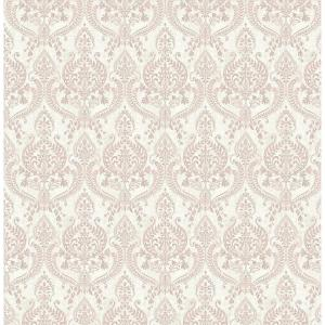 Colma, Waverly Mauve Petite Damask Paper Strippable Wallpaper Roll (Covers 56.4 sq. ft.)