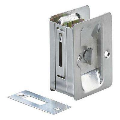 3-7/32 in. Brushed Chrome Pocket Door Pull with Privacy Lock