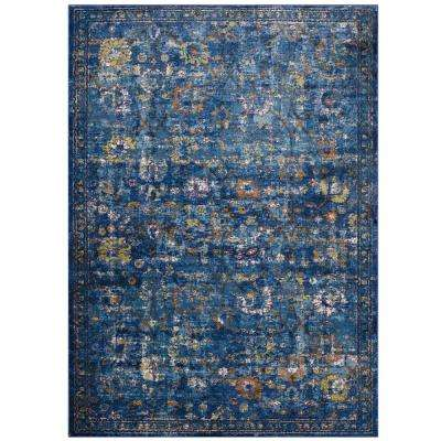 Minu Distressed Floral Lattice 5 ft. x 8 ft. Area Rug in Dark Blue, Yellow and Orange