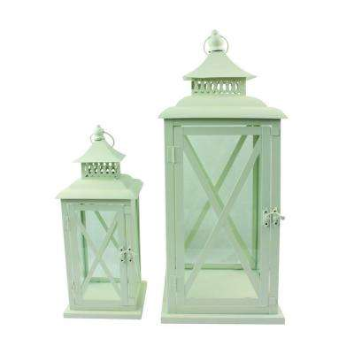 13 in. and 20 in. Metal Whitewashed Lanterns (2-Pack)