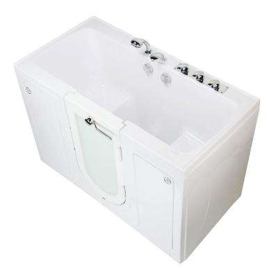 Tub4Two 60 in. Walk-In Soaking Bathtub in White Right Outward Door Heated Seat Fast Fill Faucet 2 in. Dual Drain