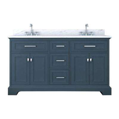 Yorkshire 61 in. W x 22 in. D Double Bath Vanity in Gray with Marble Vanity Top in White with White Basin