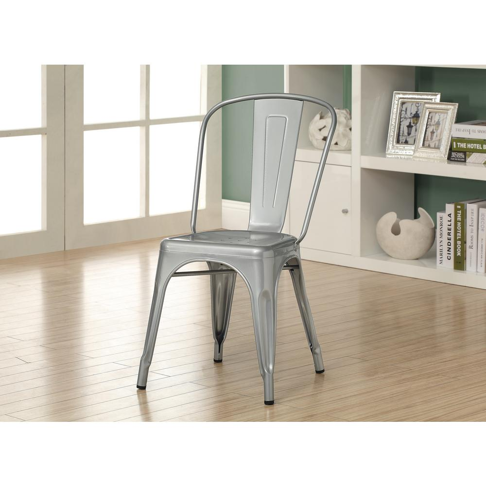 Monarch Specialties Silver Galvanized Metal Dining Chair (Set Of 2)