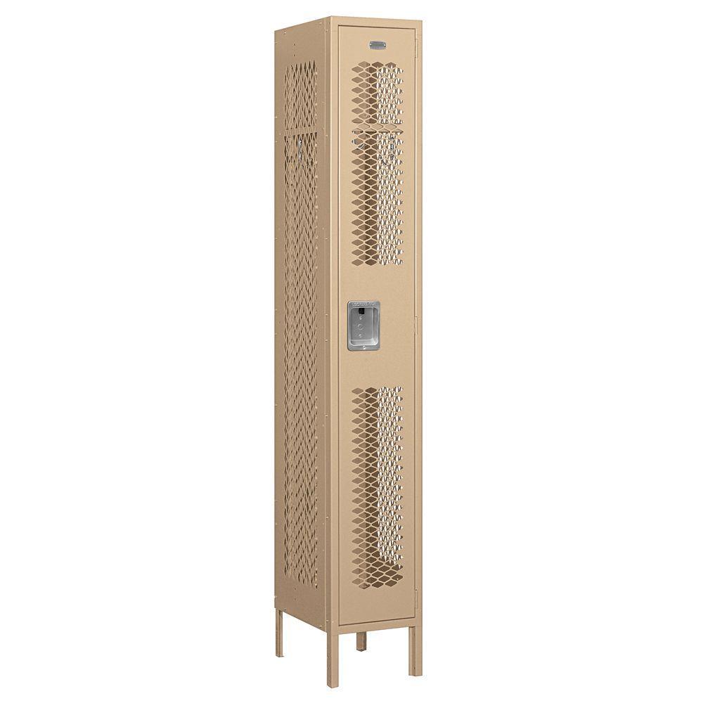 71000 Series 12 in. W x 78 in. H x 15 in. D Single Tier Vented Metal Locker Assembled in Tan