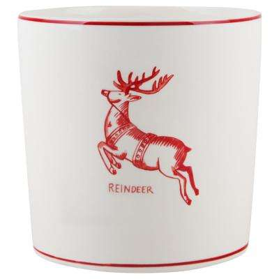 7 in. D White Reindeer Round Utensil Crock