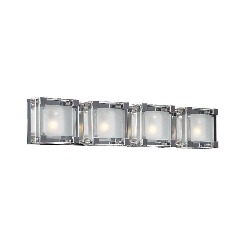 4-Light Polished Chrome Bath Vanity Light with Clear Glass