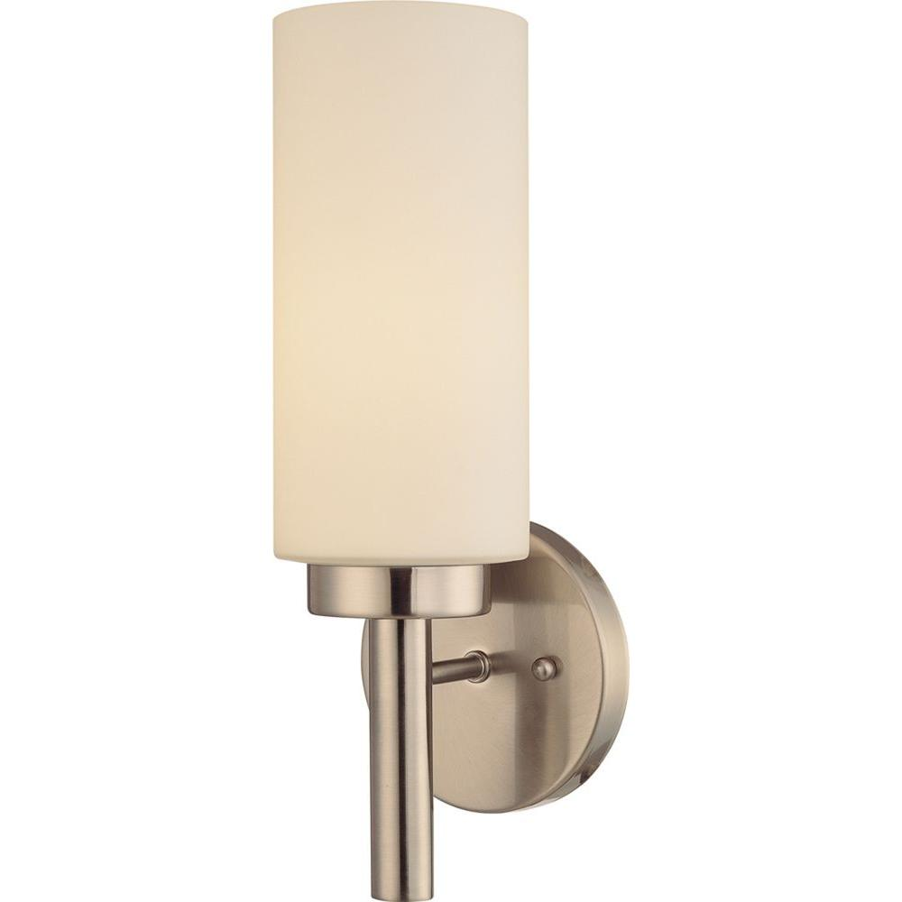 Volume Lighting 1-Light Brushed Nickel Interior Wall Sconce  sc 1 st  The Home Depot & Volume Lighting 1-Light Brushed Nickel Interior Wall Sconce-V2121-33 ...
