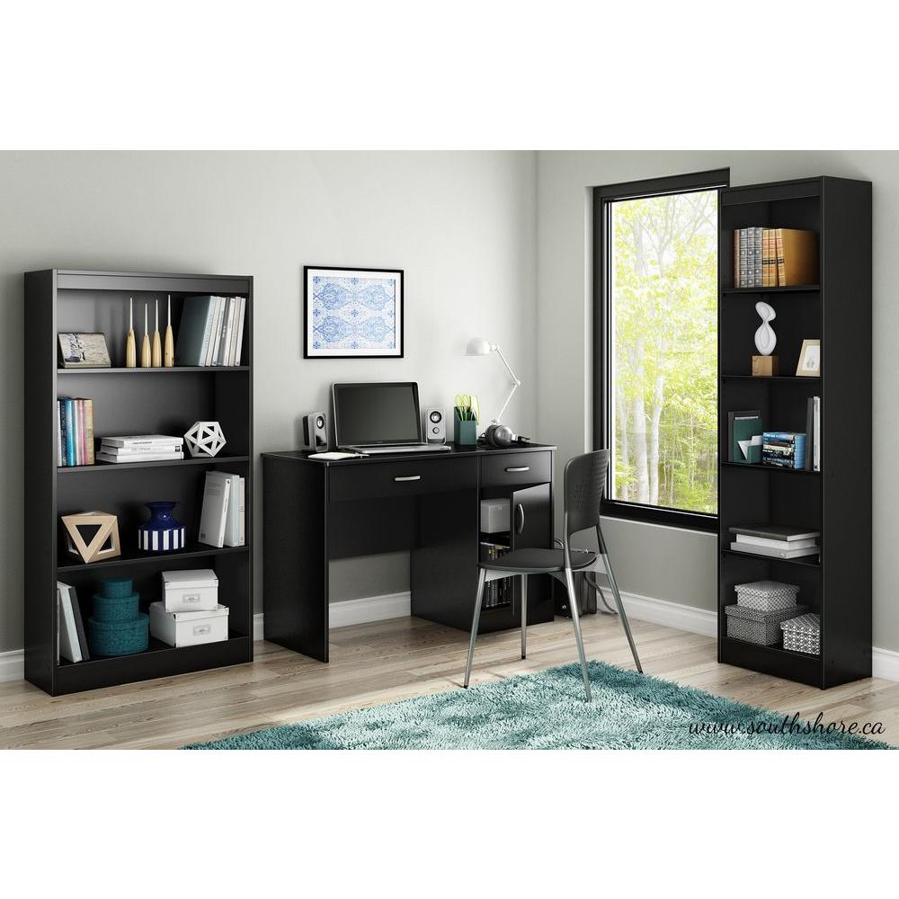 South Shore Axess Pure Black Workstations With Storage 7270070 The